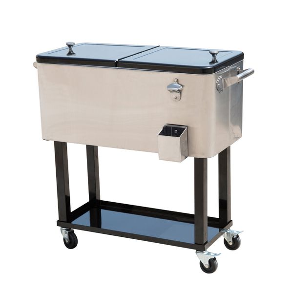 Outsunny 80 QT Rolling Ice Chest Portable Patio Party Drink Cooler Cart - Stainless Steel | Aosom