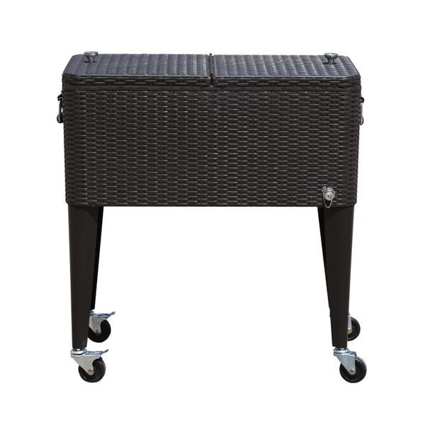 Outsunny 80 QT Rolling Ice Chest Portable Patio Party Drink Cooler Cart - Brown Wicker Pattern Dark Outdoor Rattan 80qt large rolling ice chest | Aosom