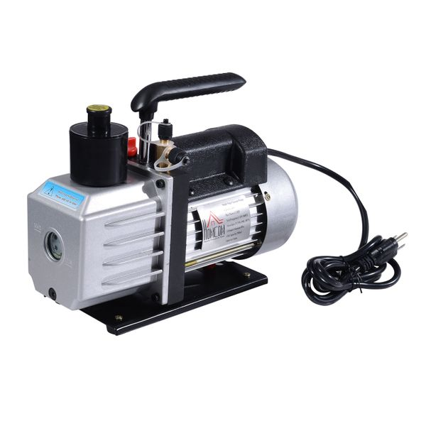 HomCom Single Stage Vacuum Pump 7CFM 1/2HP Rotary Vane Deep HVAC AC Air Tool New | Aosom