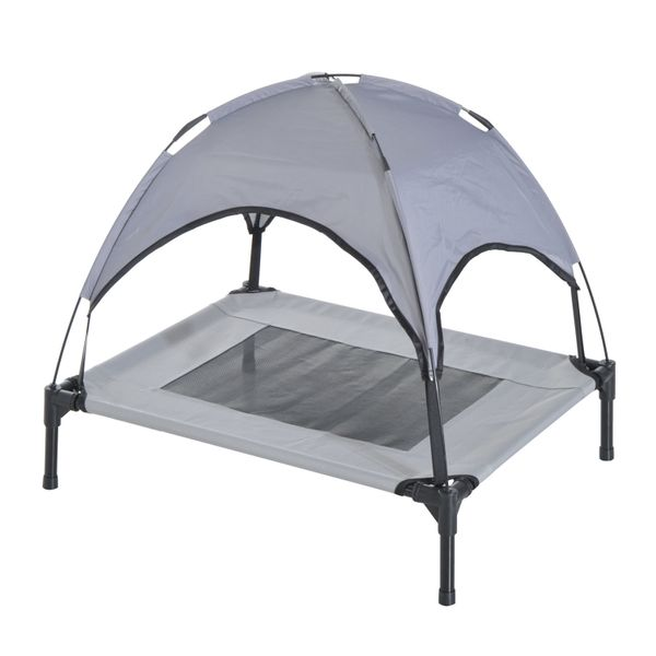 """PawHut 24"""" x 19"""" Elevated Dog Cot Cooling Pet Bed With UV Protection Canopy Shade