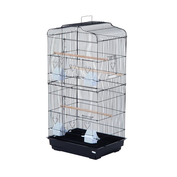 "PawHut 36"" Metal Indoor Bird Cage Playhouse Starter Kit With Accessories - Black 