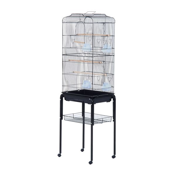 PawHut 63' Metal Indoor Bird Cage Starter Kit Rolling Stand With Accessories - Black / Large Finch Parrot metal birdcage with rolling stand | Aosom