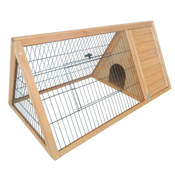 PawHut Wooden Rabbit Hutch Triangular A-Frame Chicken Coop Cage Guinea Pig House | Aosom