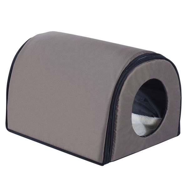PawHut Kitty Cat House Heater Cushion Waterproof Bed Sleep Winter Shelter Brown | Aosom