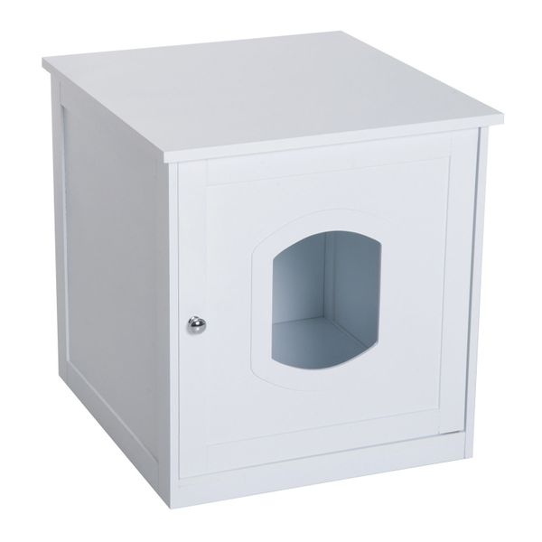 PawHut Wooden Covered Cat Litter Box End Table Hideaway Cabinet - White|AOSOM.COM