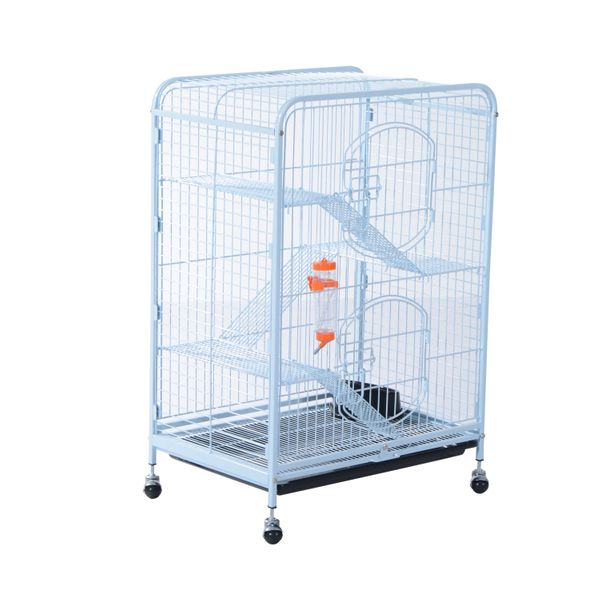 """PawHut 37"""" 4 Level Indoor Portable Pet Habitat Small Animal Cage Kit With Mesh Shelves And Ramps - White / 4 level portable small animal cage w/ Feeder   Aosom"""