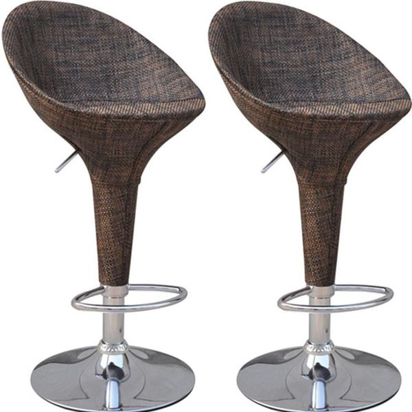 HomCom Adjustable Rattan Style Sling Fabric Swivel Bucket Seat Patio Bar Set of Two Vintage Stools | Aosom