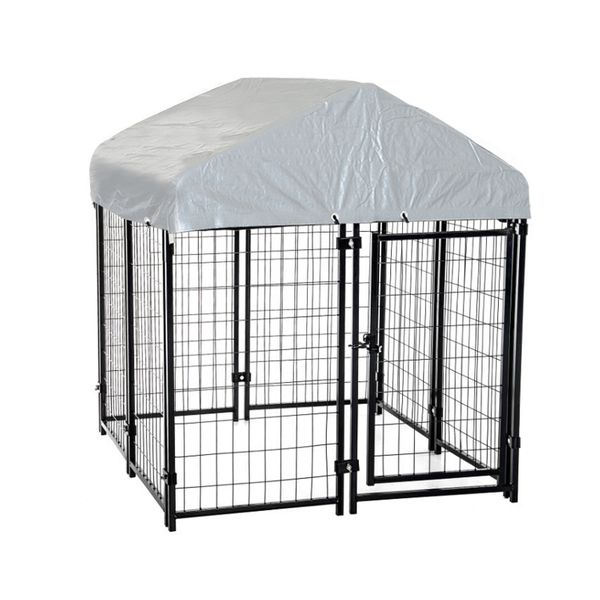 """Pawhut 97"""" Spacious Wooden Chicken Coop with Nesting Box and Backyard Run Outdoor Covered Dog Kennel House Crate Cage Enclosure dog kennel with protective tarp