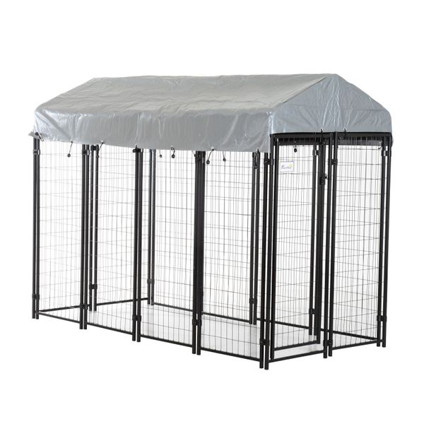 """Pawhut 96"""" Wooden Backyard Hen House Chicken Coop / 97"""" x 46"""" 58""""-72"""" Outdoor Covered Dog Box Kennel Run Crate Cage Enclosure Spacious and Secure Kennel Aosom.com"""