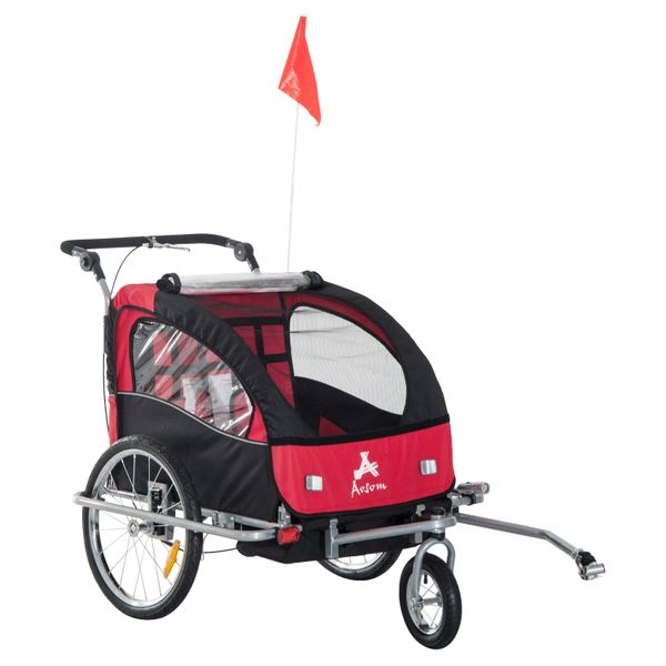 Aosom Elite II 2 in1 Double Baby Bike Trailer Stroller - Child Bicycle Kids Jogger Red | Aosom