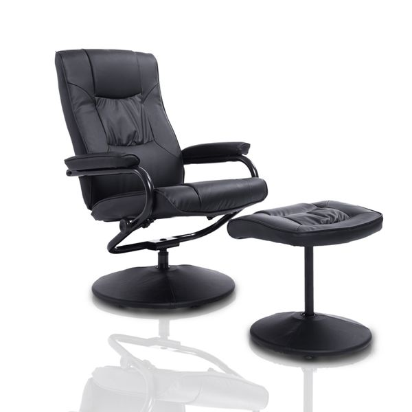 HomCom Armchair Recliner And Ottoman Set - Black | Aosom