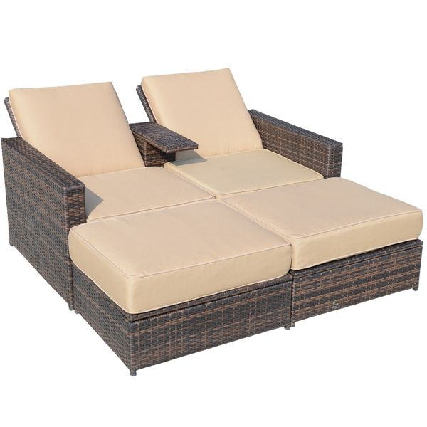 Outsunny 3pc PE Rattan Wicker Patio Loveseat Lounger / Outdoor 3-Piece Love Seat Lounge Chair Set Versatile Rattan Outdoor Loveseat|Aosom.com
