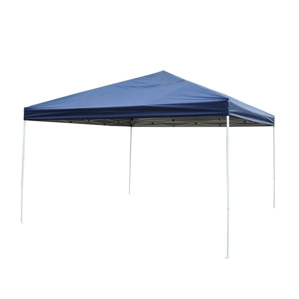 Outsunny 13' x Easy Pop-Up Tent - Blue Adjustable Height Pop Up Canopy Party Dark Blue easy pop up tent | Aosom