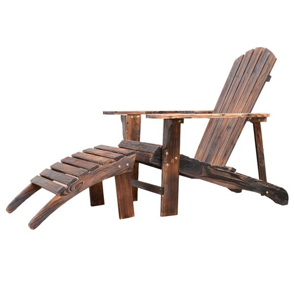 Outsunny Wooden Adirondack Outdoor Patio Lounge Chair with Ottoman - Rustic Brown | Aosom