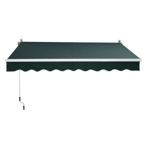 Outsunny 8'x7' Patio Awning Sun Shade - Green / 8' x 7' Manual easy retractable awning Outdoor Window Sunshade Shelter | Aosom
