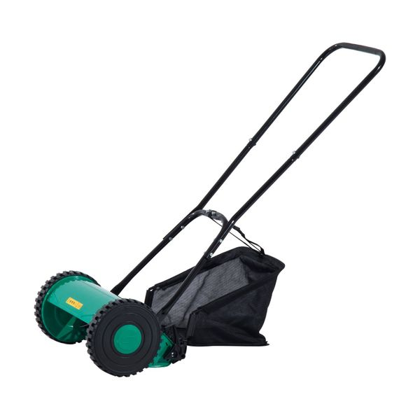 Outsunny 20 Inch 5 Blade Push Lawn Mower with Grass Catcher ᄄC Green/Black | Aosom