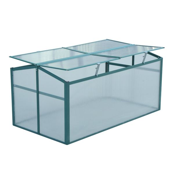 """Outsunny 51"""" Cold Frame Greenhouse Garden Plants Raised Protection Bed Portable   Aosom"""