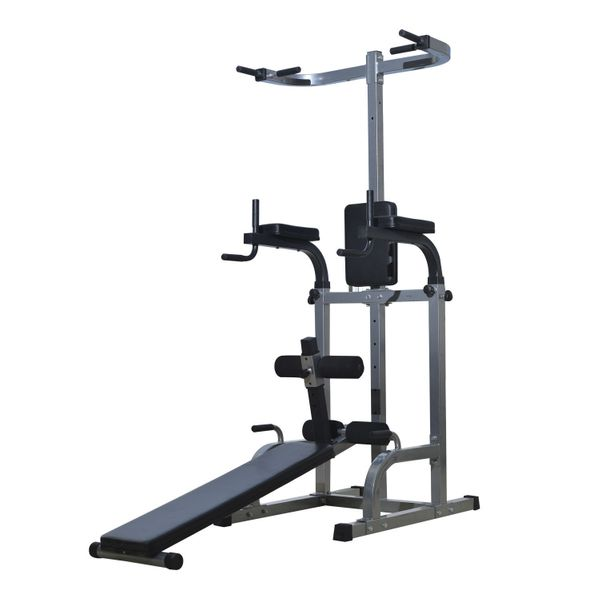 """Soozier 80"""" Full Body Power Tower Home Gym Fitness Exercise Workout Machine with Adjustable Sit-Up Bench   Aosom"""