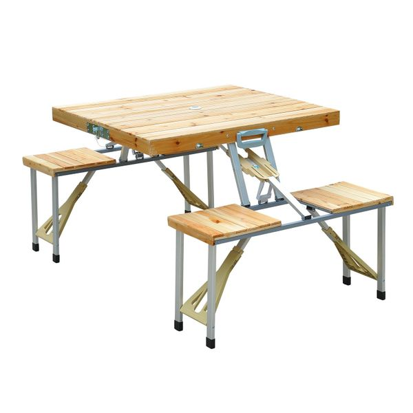 Outsunny Portable Folding Picnic Table Camp Suitcase / 4 Person Wooden Compact Set With Umbrella Hole portable folding picnic table|Aosom.com