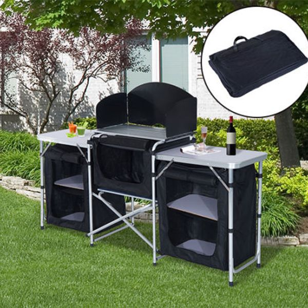Outsunny 6' Deluxe Portable Fold-Up Camp Kitchen with Windscreen 6' deluxe portable camp kitchen   Aosom