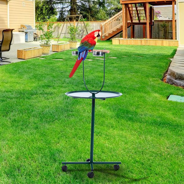 "PawHut 49"" Round Portable T-Stand Bird Activity Center Playground / 48"" Play Stand w/ Wheels - rolling bird stand 