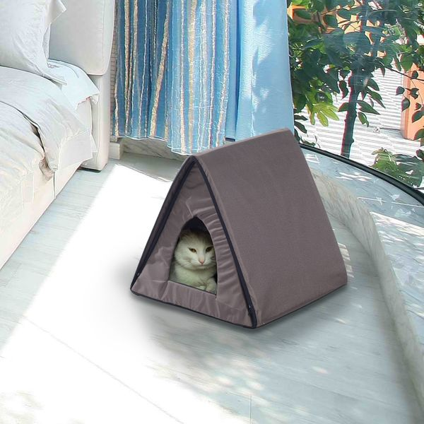 PawHut Heated Kitty House Indoor Pet Cat Bed Cage Warm Cando Water resistant | Aosom