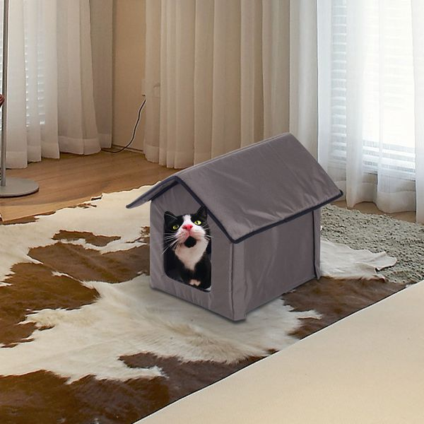 PawHut Heated Kitty House Indoor Pet Cat Animals Warm Shelter Bed Portable New | Aosom