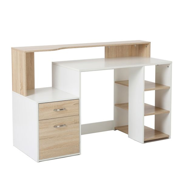 "HomCom 55"" Multi-Shelf Computer Desk - Oak/White"