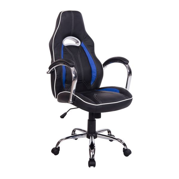 HomCom Race Car Style PU Leather Gaming / Office Chair – Blue | Aosom