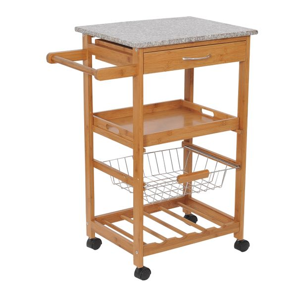 "HomCom 31"" Wooden Kitchen Island Rolling Storage Cart With Granite Top and Wine Rack / kitchen island rolling storage cart 