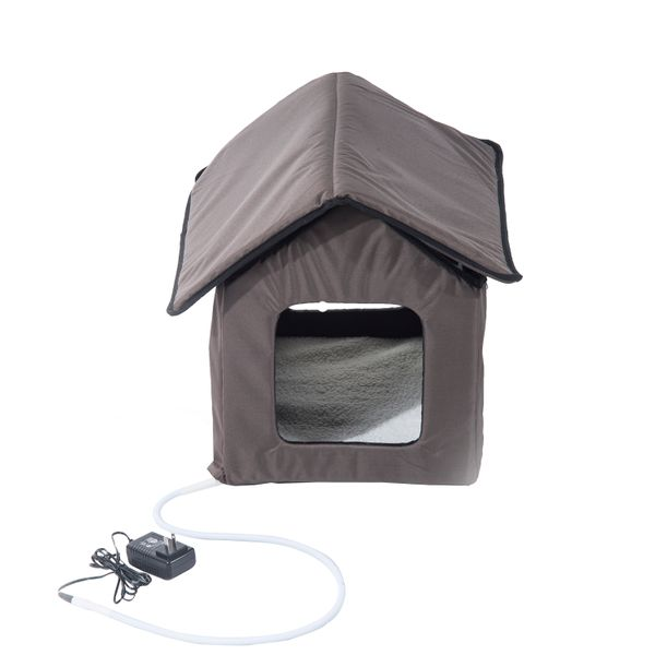 PawHut Heated Kitty House Outdoor Pet Cat Animals Warm Shelter Bed Portable New | Aosom