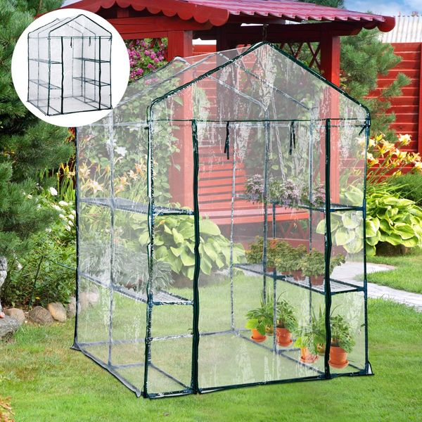 5'x5'x6' Portable Walk In Steeple Greenhouse Outsunny / Garden Walk-In 8 Shelves Plant Flower tall compact portable greenhouse | Aosom