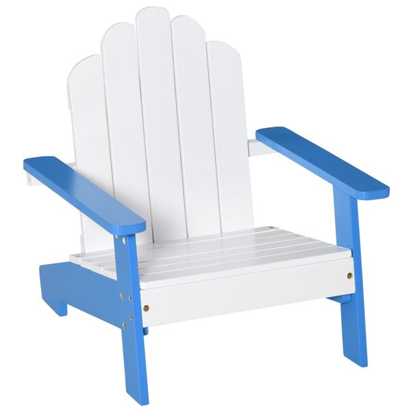 """Outsunny Small Kids Pine Wood Adirondack Lounger Chair with Slat Style Backrest and Wide Seat for Beach, Garden, or Poolside, Blue Wooden Outdoor/Indoor 20"""" x 19.75"""" x 20.75"""" for Age 1-4