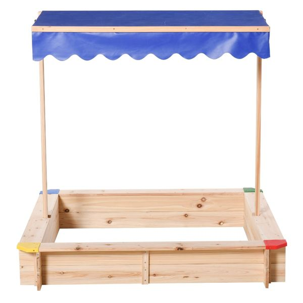 Outsunny Kids Wooden Cabana Sandbox Children Outdoor Backyard Playset Play Station w/ Adjustable Canopy Bench Seat Sand Protection Cover Sand/Ball Pit Ceder Wood   Aosom
