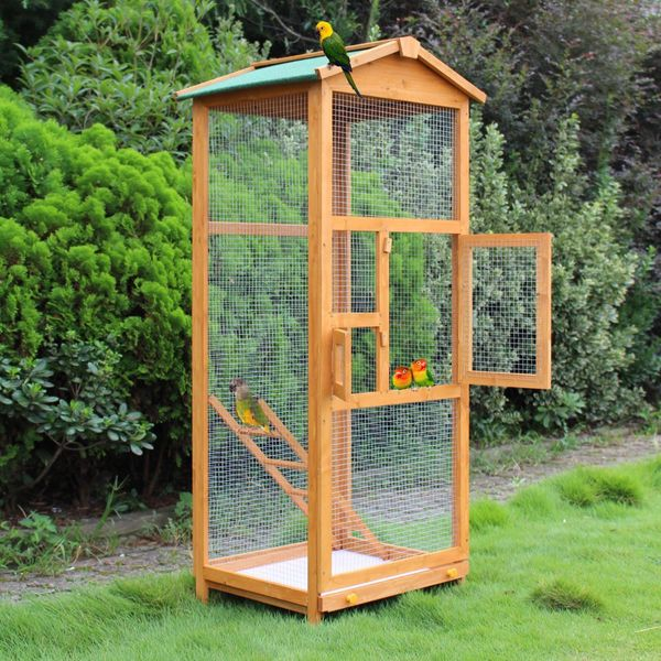 "PawHut 65"" Large Wooden Vertical Outdoor Aviary Flight House Bird Cage Metal Parrot Aviary Birds House Pet Play Perch stand Parakeet with 2 Doors 