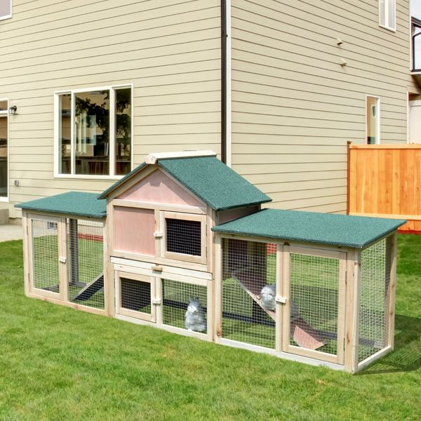 """PawHut Outdoor Rabbit House 83"""" 2 Story Deluxe XL Wooden Rabbit Hutch Small Animal Habitat Big Bunny Cage w/ Ladder and Run 