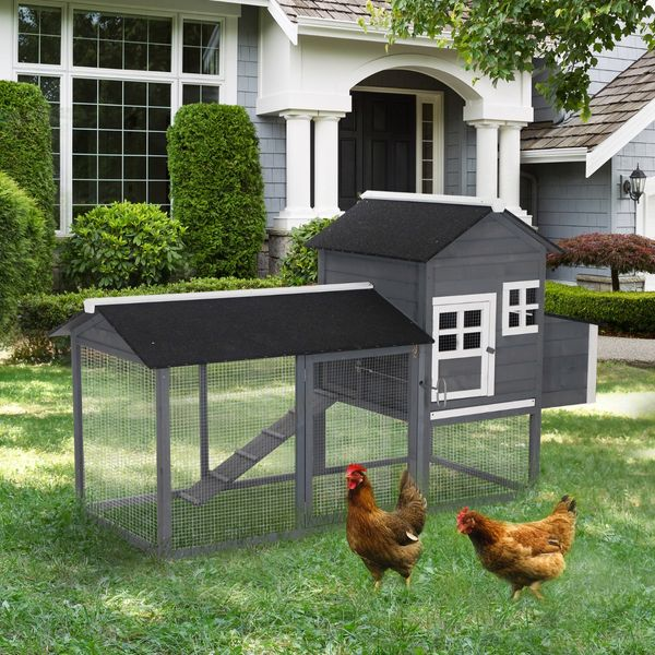 Pawhut Wooden Backyard Poultry Hen House Chicken Coop - Green / Nest Box Wood Hutch Nesting compact chicken coop with run | Aosom