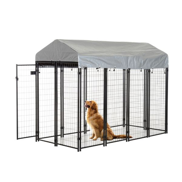 """Pawhut 96"""" Wooden Backyard Hen House Chicken Coop / 97"""" x 46"""" 58""""-72"""" Outdoor Covered Dog Box Kennel Run Crate Cage Enclosure Spacious and Secure Kennel 
