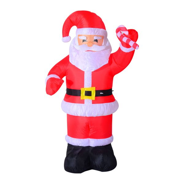 HomCom 8 Foot Tall Lighted Christmas Inflatable Santa Holiday Outdoor Lawn Decoration | Aosom