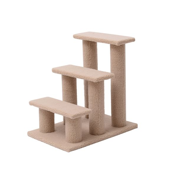 "PawHut 24"" 3 Step Cat Scratching Post Bed Pet Step Stool 