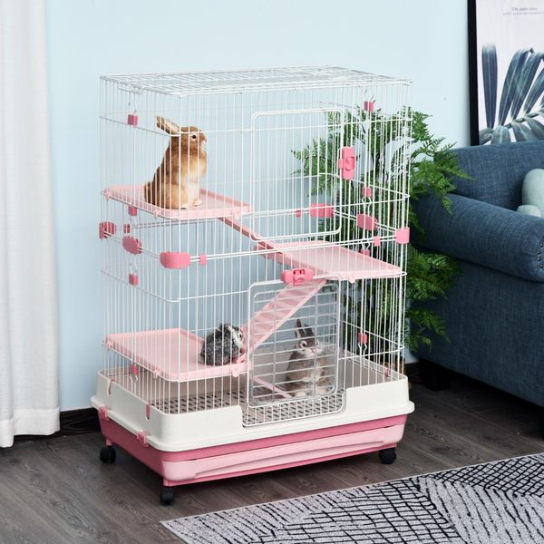 """PawHut 32""""L 4-level Rabbit Cage Indoor Small Animal Hutch with Wheels Pink 