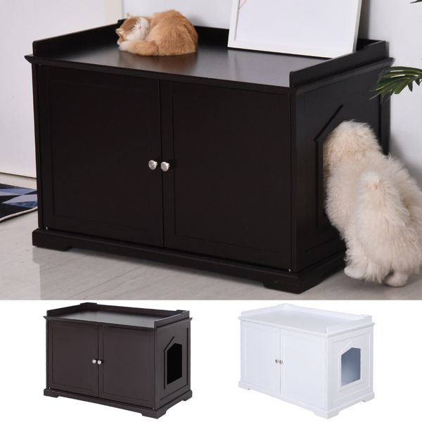 PawHut Wooden Covered Cat Litter Box End Table Hideaway With Storage Cabinet / wooden covered cat litter hideaway | Aosom