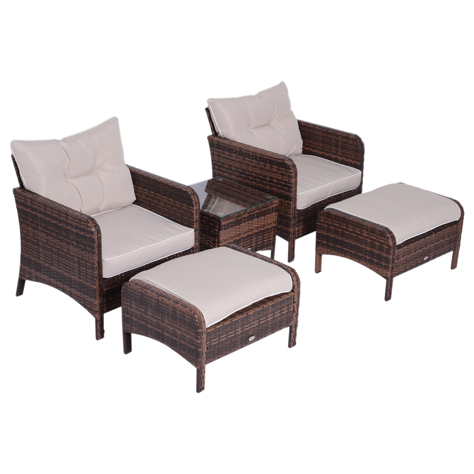 Outsunny 5 Piece Outdoor Patio Furniture Set All Weather Wicker Conversation Set Footrest Coffee Table Outside Deck W 2 Chairs 2 Footstool A Glass Brown Patio Furniture Aosom Canada
