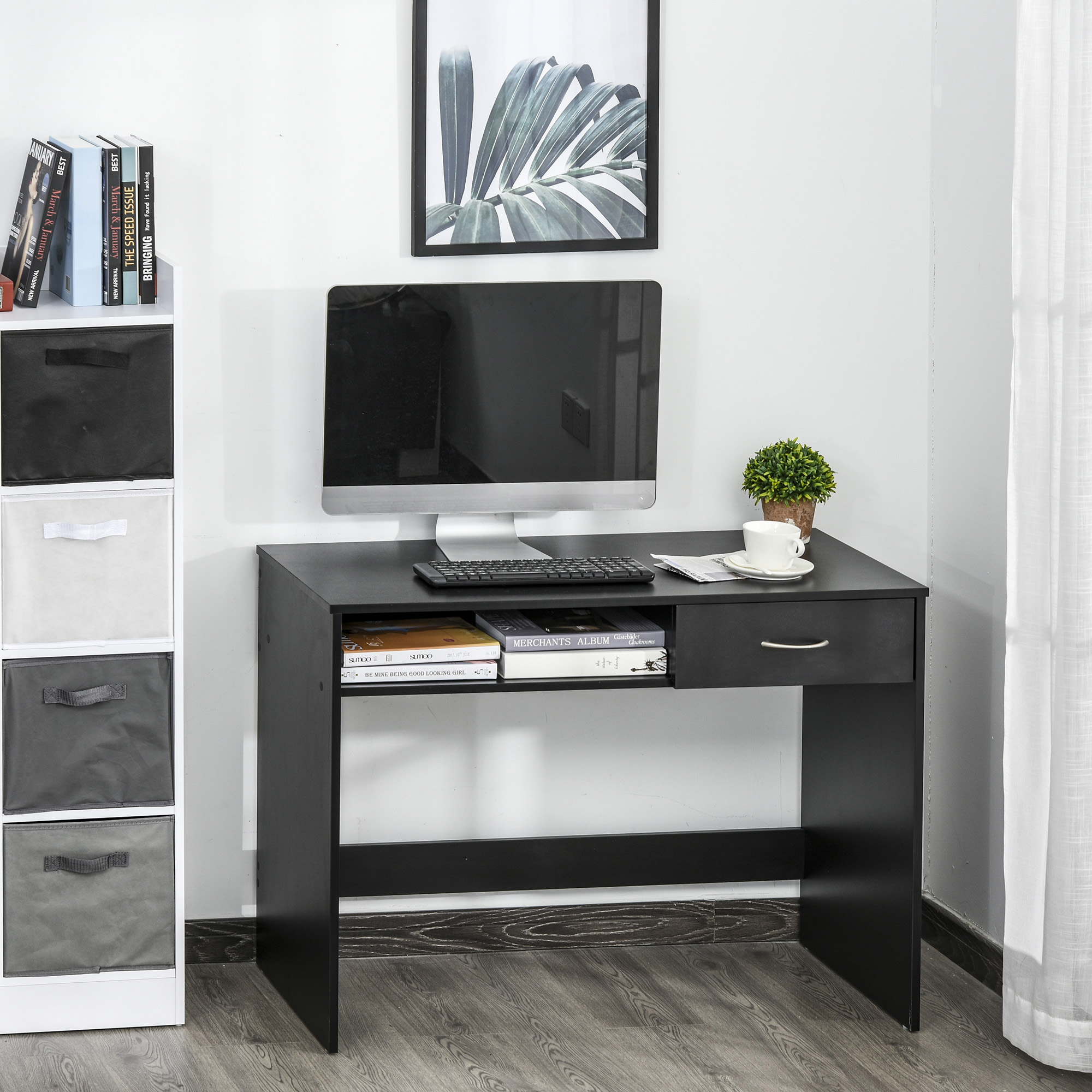 Image of: Homcom Modern Computer Study Desk Wooden Table Workstation With Drawer Storage Shelf For Home Office Study Black Writing Home Office Aosom Canada