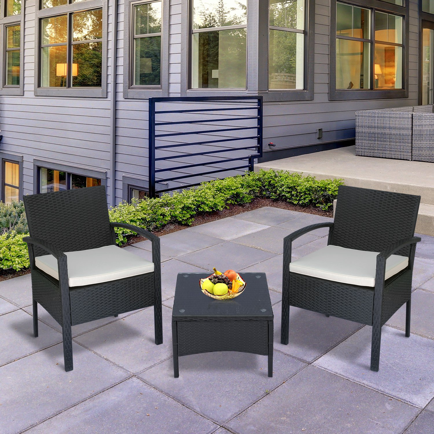 Outsunny 12pcs Rattan Wicker Coffee Set Garden Chairs and Table Set Outdoor  Furniture All Weather w/ Cushion Black