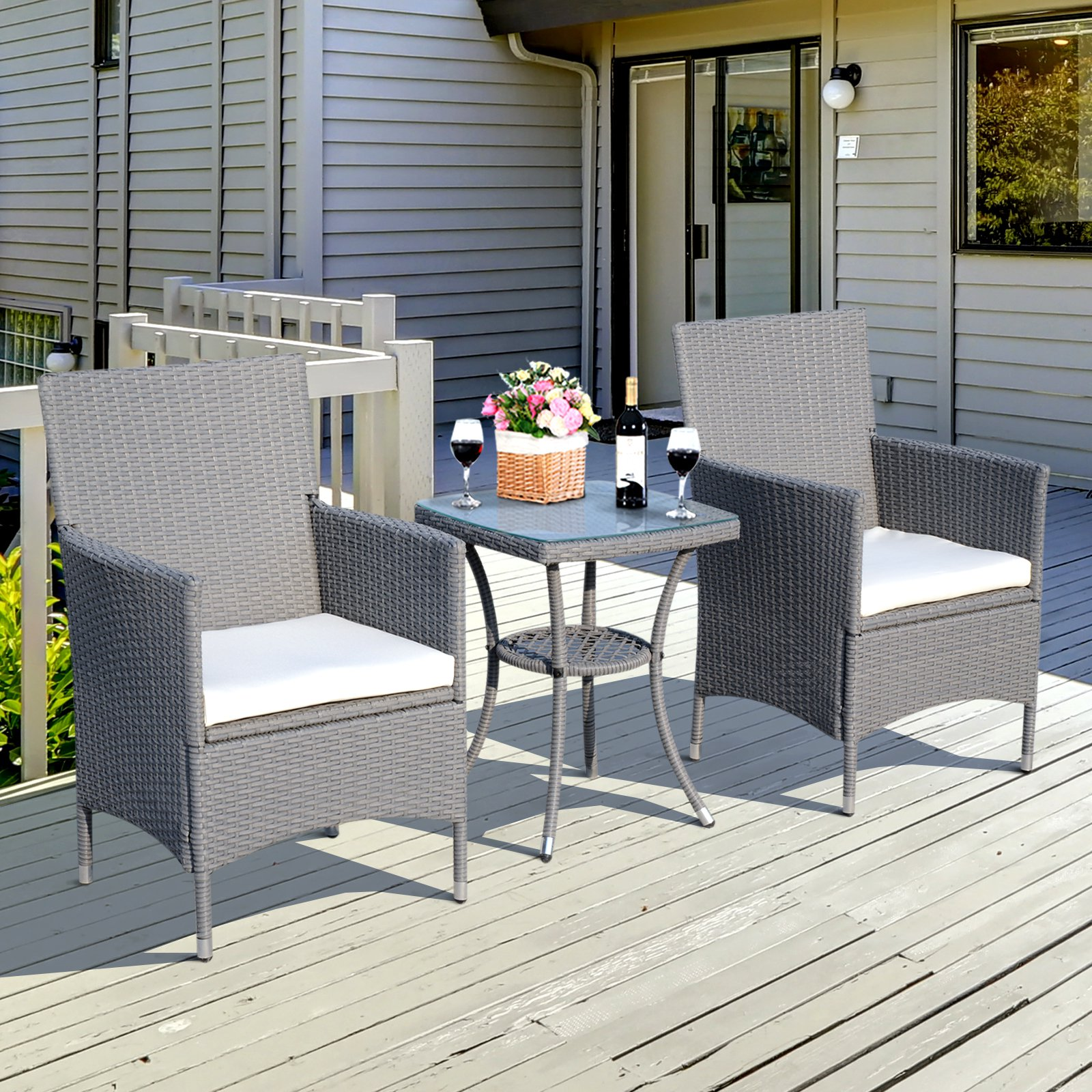 Outsunny 3PC Rattan Bistro Set 2 Armchair Glass Top Coffee ...