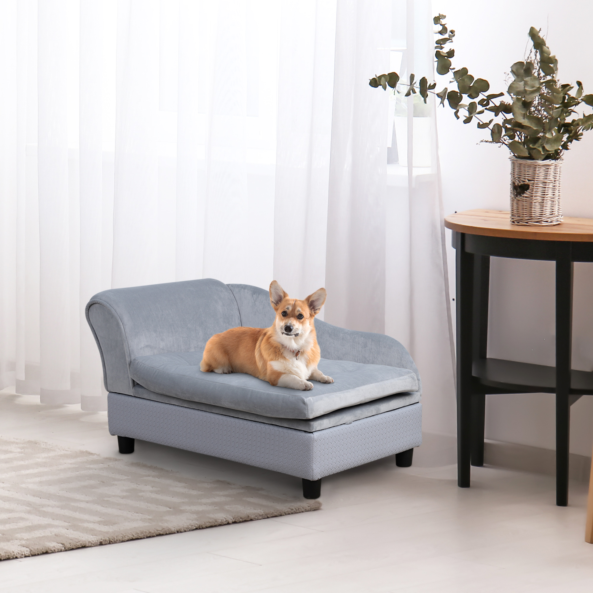 Pawhut Pet Sofa Couch With Storage Function Small Sized Dog Various Cat Sponge Cushioned Bed Lounge W Aosom Canada