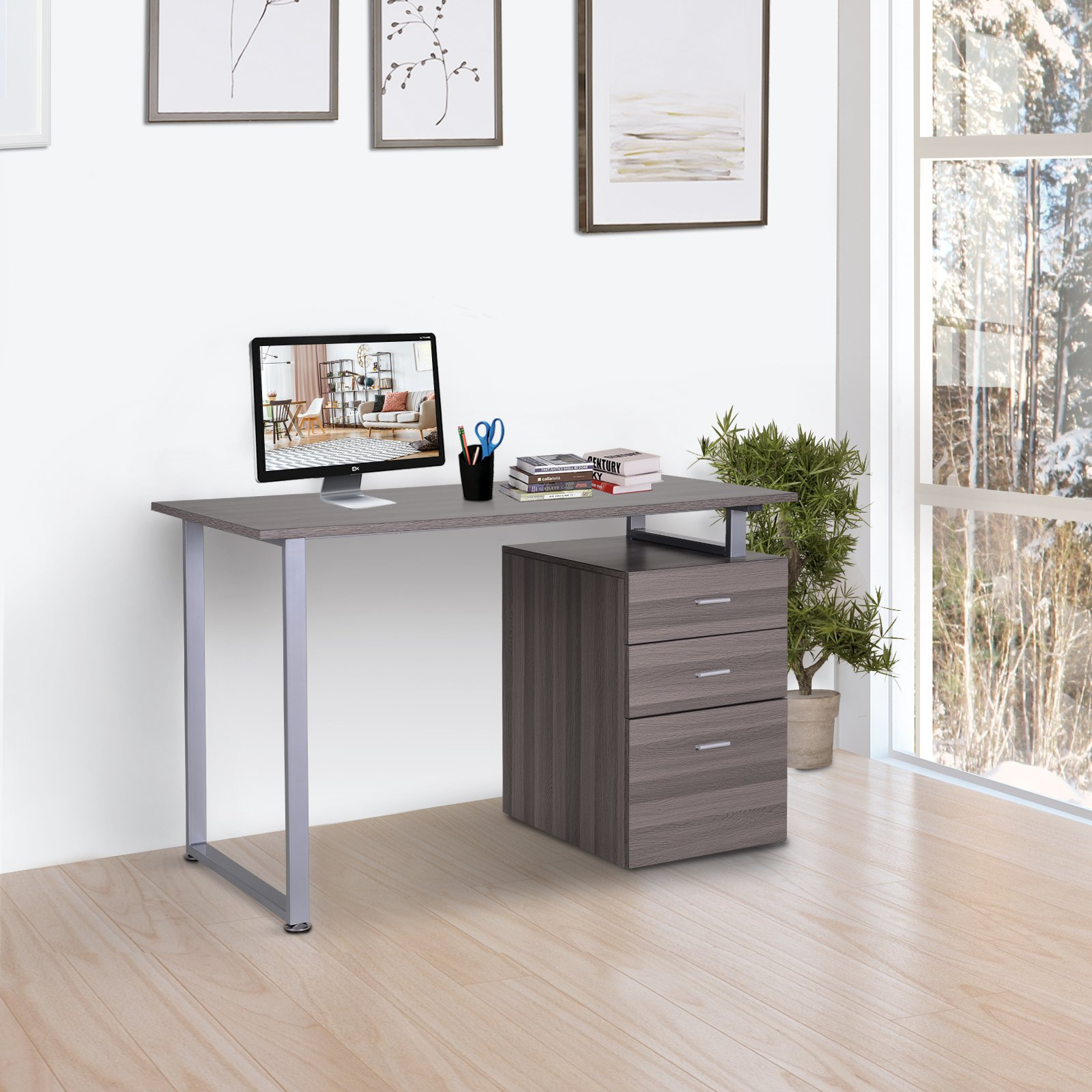 Homcom Industrial Style Office Desk Computer Desk With Multi Use Removable File Drawers Dark Wood Grain Color Office Desks Work Stations Aosom Canada