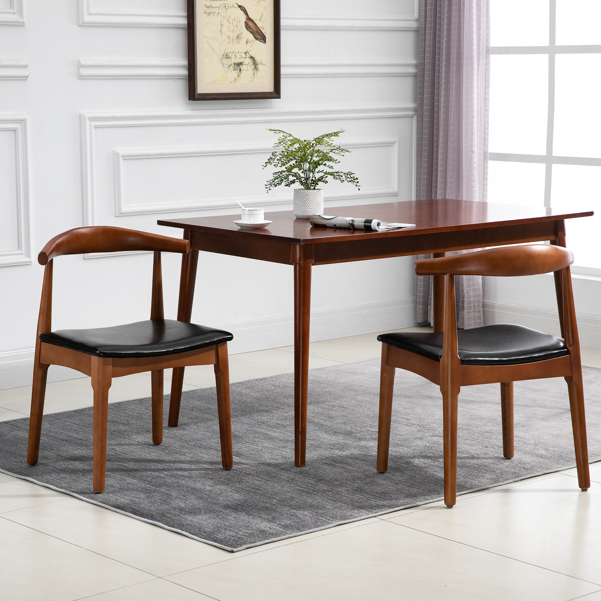Homcom 2 Piece Mid Century Modern Dining Side Chair Upholstered Faux Leather Seat Walnut Of Back Frame Aosom Canada
