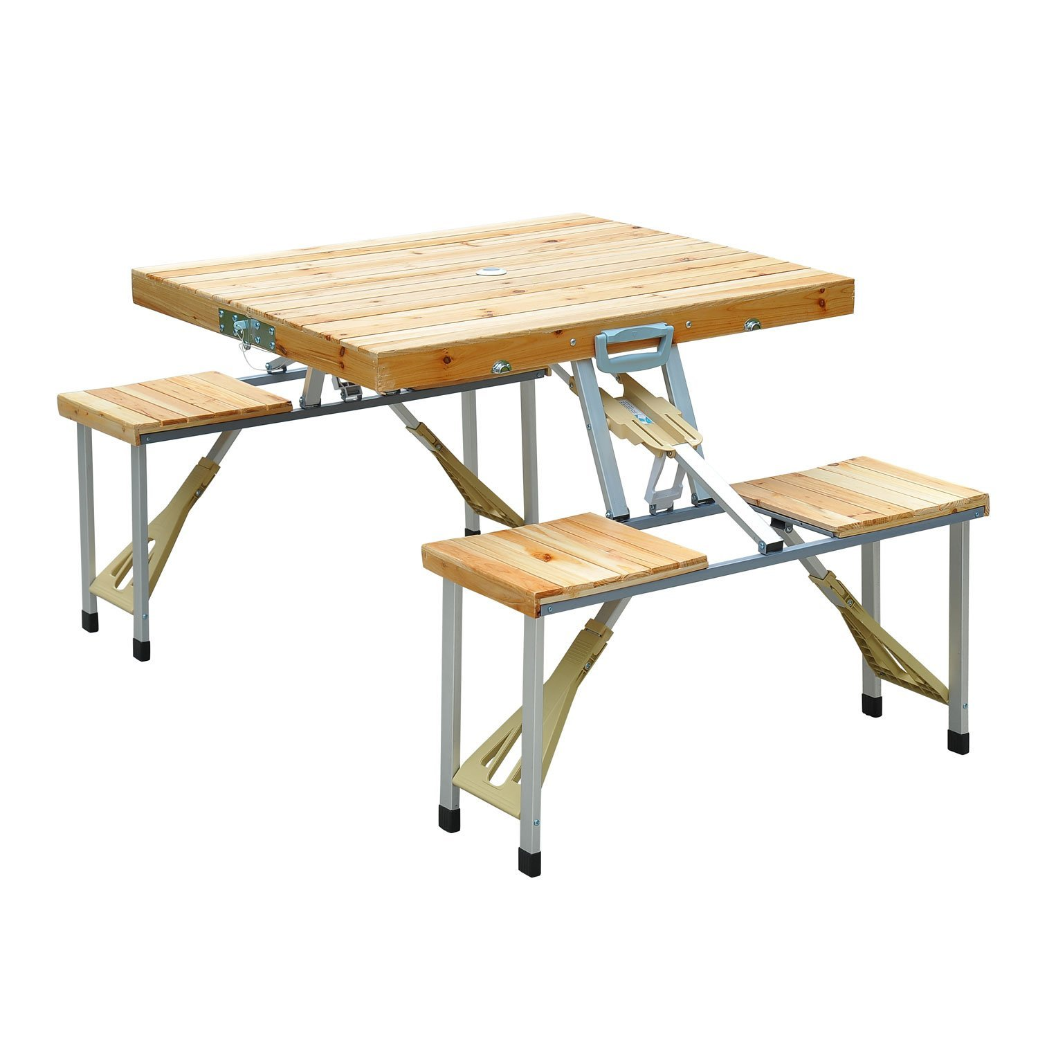 Outsunny Portable Wooden Dining Picnic Table Chair Set Folding Junior Outdoor Travel Use Outdoor Recreation Aosom Canada